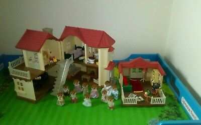 sylvanian families beechwood Hall, summer house furnished +rare lounge, figures