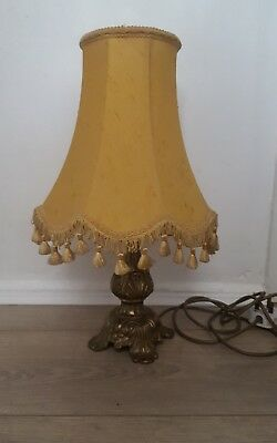 Stylish Ornate Gilt Metal Brass Side Table Lamp With Vintage Shade