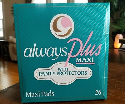 Vintage 1982 Always Plus Maxi Pads w/ Panty Protectors 26 count - New Sealed Box