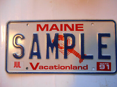 plaque immatriculation  usa maine 1991 license plate old americaine sample