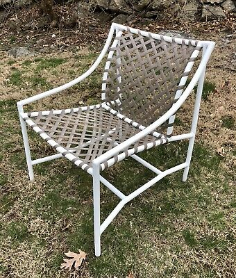 Vintage Tropitone Sun Pool Patio Dining Arm Chair White & Putty