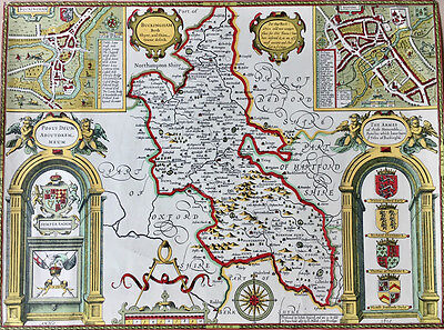 Old Copy Of John Speed 1610 Map Of Buckinghamshire