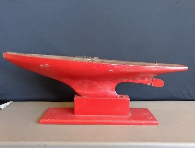 "Vintage Large Wooden Model Pond Boat Weighted Metal Keel on Stand 34"" Long"