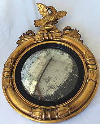 Antique Convex Federal style bullseye mirror Gilded Eagle