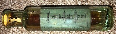 Vintage Marsching's French Gold Paint Bottle with Label - Good Condition.