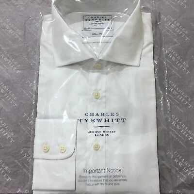 "Mens White Shirt CHARLES TYRWHITT 16.5"" 42cm Button Cuff Slim Fit Cotton Shirt"