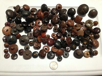 Large Lot LEATHER BUTTONS Woven Sewing Brown Black Tan Mixed Craft