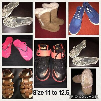 Lot Of 8 Pairs Little Girls Size 11 to 12 Shoes, Sandals Boots - Nike
