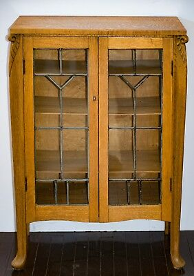 Antique Oak Cabinet With Leaded Glass Doors **antique**  Excellent Condition