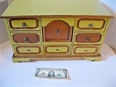 Vintage Large Wood Jewelry music Box  Centurion Pull Out SECRET DOOR