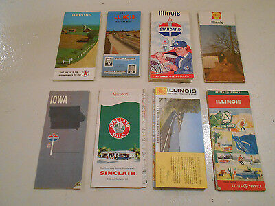 Vintage Road Maps Texaco Sinclair Standard Shell Illinois Iowa Missouri Lot of 8