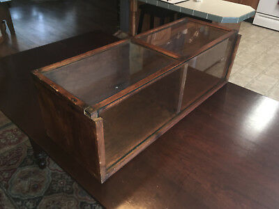 Antique Country Store Divided Center Wood And Sliding Glass Front Display Case