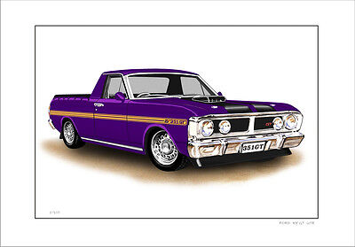 Ford Xy 351Gt Ute Super  Roo  Limited Edition Car Drawing Print ( 8 Car Colours)