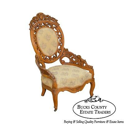 Rococo Revival Exceptional Carved Walnut Antique Victorian Bergere Chair