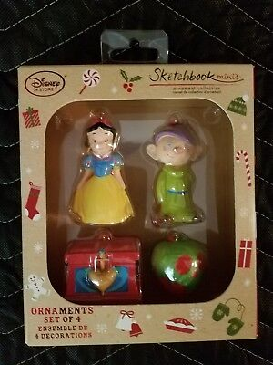 New Disney Snow White and the Seven Dwarfs Sketchbook Christmas Ornaments