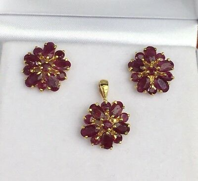 14k Solid Yellow Gold Cluster Pendant Earrings Set, Natural Ruby 4.52 Gr