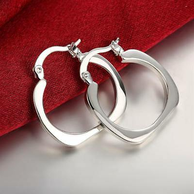 Womens Gracious 925 Sterling Silver Small Square Hoop Fashion Earrings #EA181