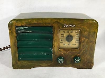 """Emerson """"Little Miracle"""" Marbled Green White and Yellow Catalin Tube Radio AX235"""