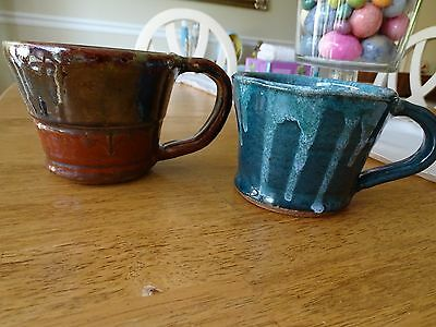 """Vintage Two Pottery Mugs Hand Made Nc  Signed  """"loj""""   Browns & Blues"""