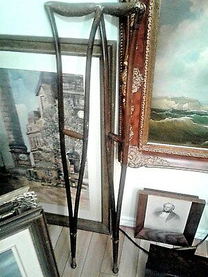 Antique Pair of Civil War Era Wooden Crutches
