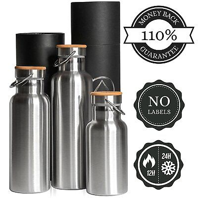 Insulated Water Bottle 34oz Vacuum / 1 Liter Thermo Insullated Stainless Steel &