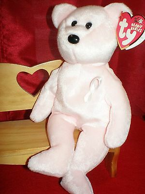 TY Beanie Baby Cure Bear Breast Cancer Awareness Bear MWMT Collectors Quality