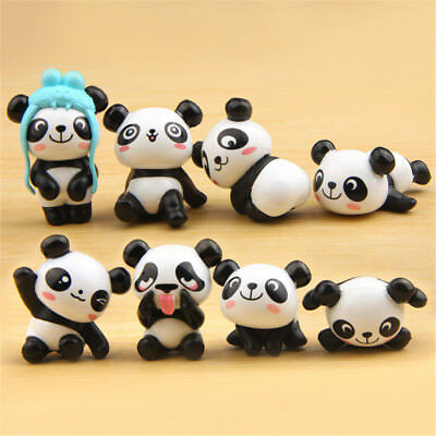 8 PVC Panda Cute Animal Set Of Figure Mini Doll Caek Topper Kids Doll Gift Toys