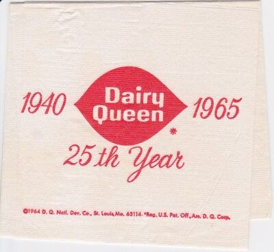 1965 DAIRY QUEEN NAPKIN 25th year anniversary RARE