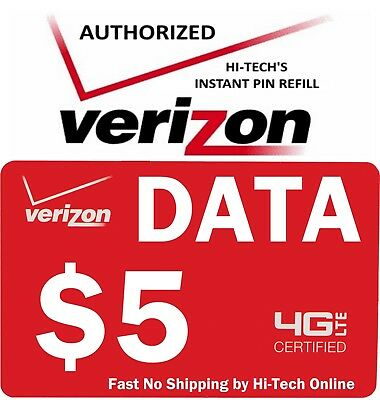 VERIZON $5 DATA >PIN CODE< FOR PHONE OR Mi-Fi HOT SPOT > SAME DAY MESSAGED