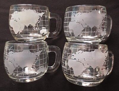 Vintage Nestle Nescafe Etched World Globe Map Glass Coffee Cups