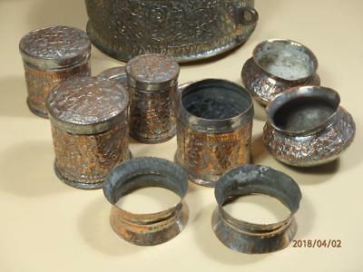 Ancient India Copper Hand Carved Islamic Rare Betel Nut Box With Full Set.