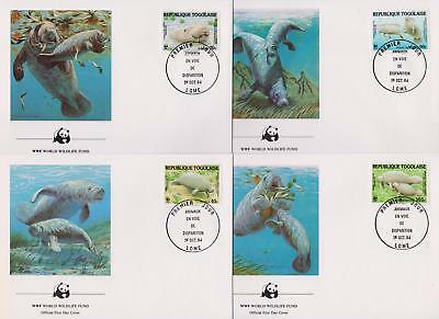 Togo 1984 World Wildlife Fund - Manatee Sea cows - 4 First Day Covers FDC - (19)
