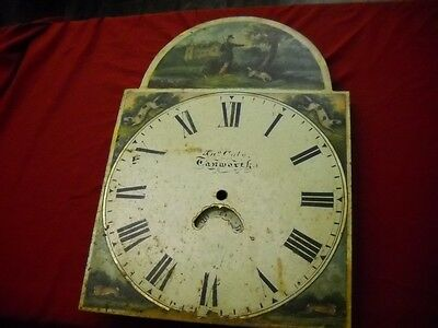 Antique Long  Case Clock Dial. Hunting/shooting.