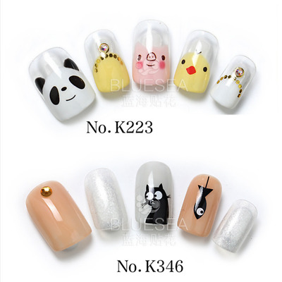 Nail Art Water Transfers Stickers Wraps Decals Cute Animals Pand chick cat K223