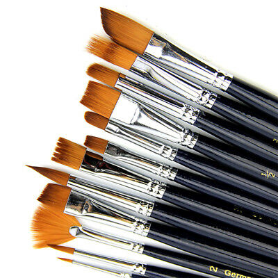 12X Artist Paint Brushes Set Nylon Hair Watercolor Acrylic Oil Painting Supply^