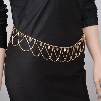 Silver Gold Metal Belly Waist Chain Tassel Sequin Charm Body Dance Belt