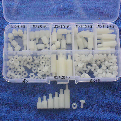 180pcs white M3 Nylon Hex Spacers Screw Nut Stand-off Kit With Plastic Box Set