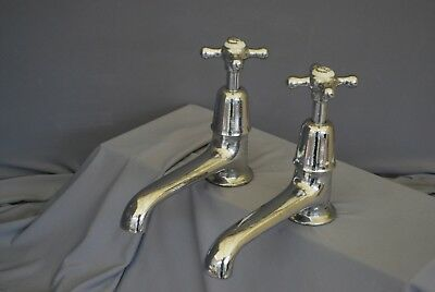 "Old  Bath Taps Large Chrome Long 6"" Reach Reclaimed, Refurbished Retro Taps"