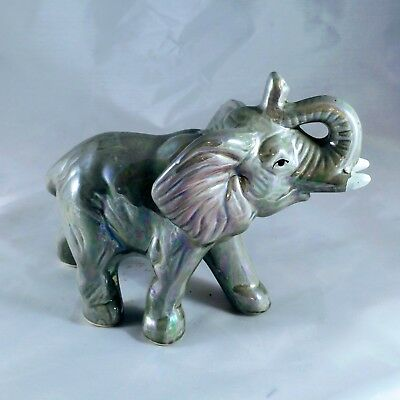 iridescent gray Ceramic Elephant Figurine 5 inches tall 7 inches long