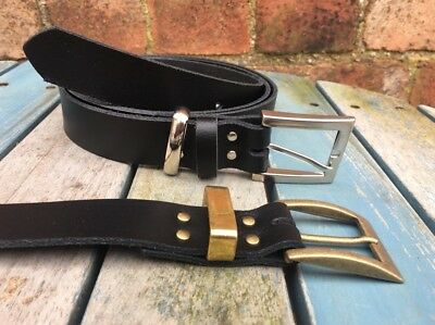 Leather Belt Square West End Buckle 30mm Choice of Colours, Keeper Loop Handmade