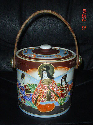 Vintage Kutani? Japanese Hand Painted Round Tea/Biscuit Barrel