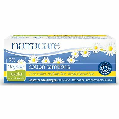 NATRACARE ORGANIC COTTON TAMPONS 20- REGULAR NORMAL - PERFUME /CHLORINE FREE x 2