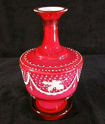 Handpainted Antique Victorian Cased Glass Vase Rose Red W White 6 Inches EXC