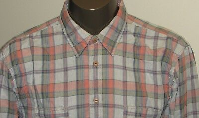 Hugo Boss Orange Label Blue Pink Plaid Long Sleeve Cotton Shirt sz XXL