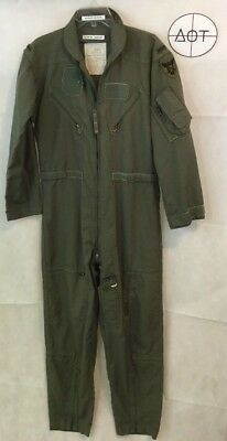 Vtg Sage Green Summer Fire Resistant Flyers Coveralls US Military Jumpsuit