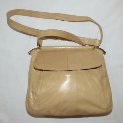 VINTAGE RAYMOND gary CASTLES EEL SKIN leather SHOULDER BAG beige Made in ITALY