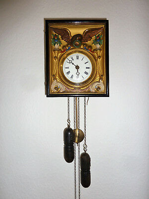 Very old german wall clock from black forrest, 1850, pendulum and weights, rare