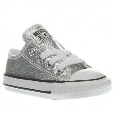474a9ced3dcc ... new zealand converse all star ox toddler infant girls silver sparkly glitter  trainers size 6 f9edd