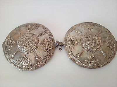 Antique silver belt buckle 18th century, traditional handcrafted