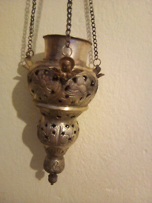Antique 18th century silver Christian Russian orthodox oil lamp